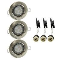 Kit de 3 spots LED 4W encastrables et orientables en Alu brossé