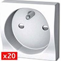Prise 2P+T 45x45 mm àdouble bornes autos - Pack de 20 prises