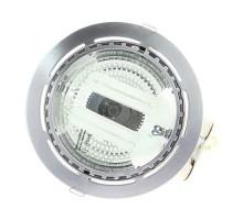 Downlight plafonnier alu brossé 2x15W + 2 ampoules E27 15W 2700K