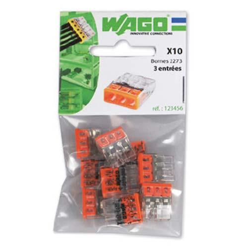 Sachet de 10 mini-bornes de connexion Wago 3 fils