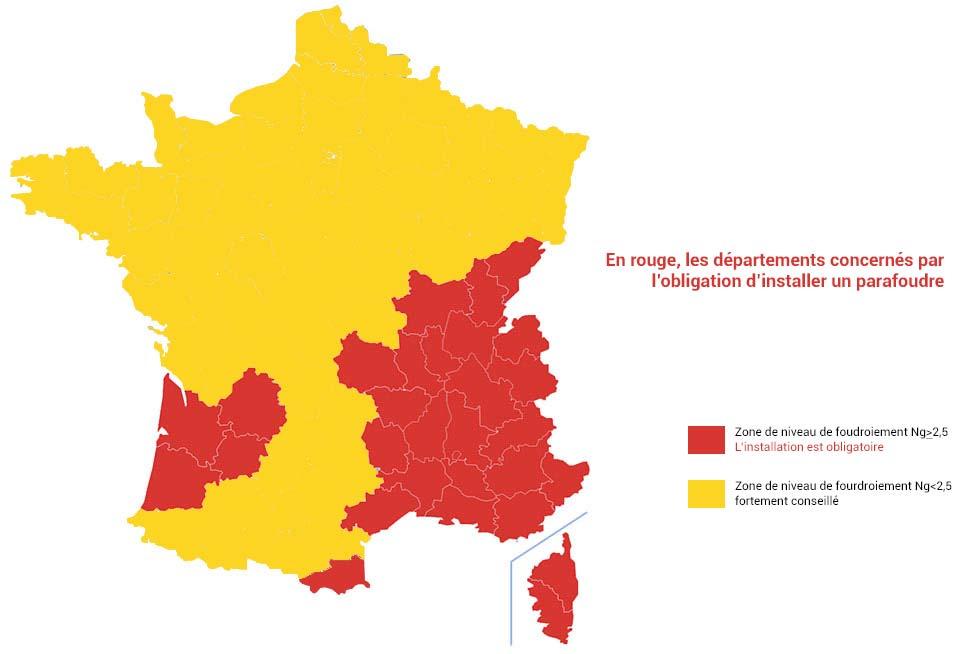 zones françaises avec parafoudre obligatoire
