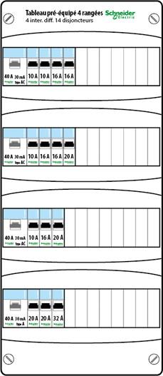 schneider xp tableau lectrique pr quip 4 rang es. Black Bedroom Furniture Sets. Home Design Ideas