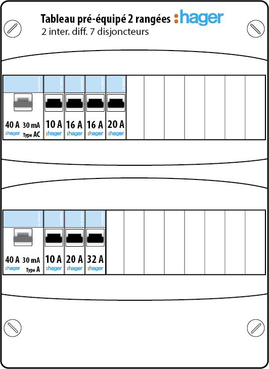 tableau lectrique pr quip hager auto 2 rang es 13 modules gamma. Black Bedroom Furniture Sets. Home Design Ideas