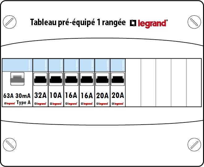 tableau lectrique pr quip legrand 1 rang e 13 modules drivia. Black Bedroom Furniture Sets. Home Design Ideas