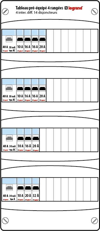 tableau lectrique pr quip legrand auto 4 rang es 13 modules drivia. Black Bedroom Furniture Sets. Home Design Ideas