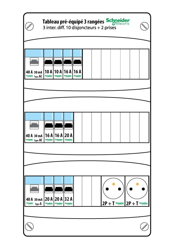 tableau lectrique pr quip schneider 3 rang es 13 modules resi9 xp. Black Bedroom Furniture Sets. Home Design Ideas