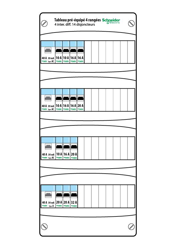 tableau lectrique pr quip schneider 4 rang es 13 modules resi9 xp. Black Bedroom Furniture Sets. Home Design Ideas